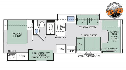 Thor Chateau Class C RV 30D Floorplan