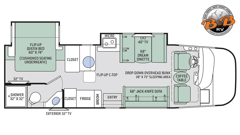 Vegas 27A Class A RV Floorplan