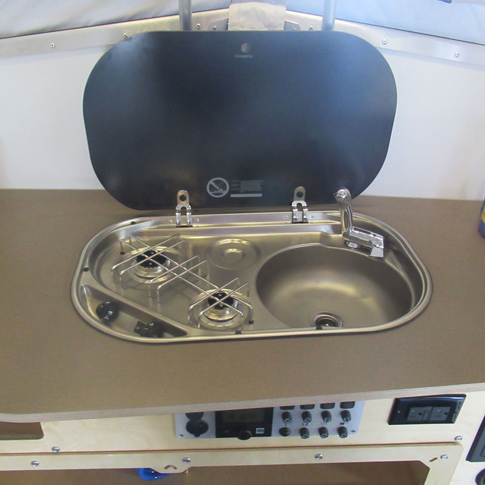 Cricket Trailer Covered Sink and Stove