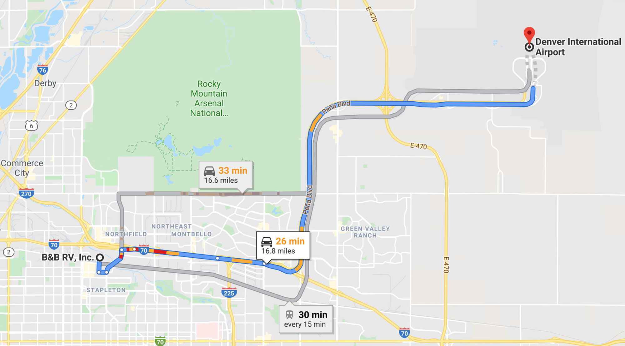 Driving Directions from Denver International Airport to B&B RV, Inc.